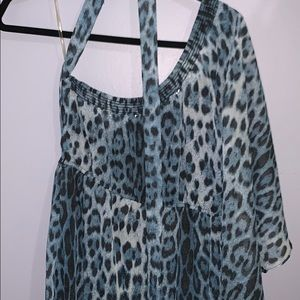 Beautiful one shouldered blue leopard mini dress